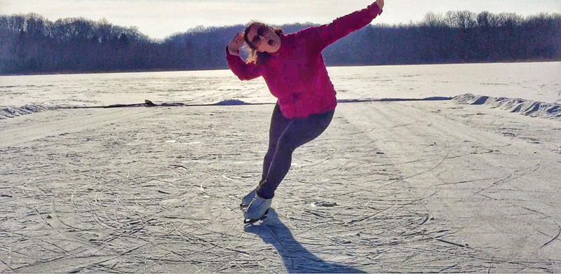 ice skating on a frozen pond in Wisconsin