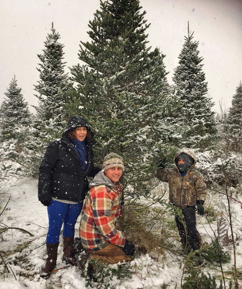 picking out the perfect Christmas tree in the snow