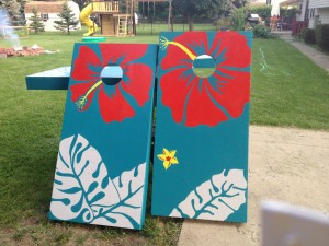 Cornhole Boards with a Touch of Island