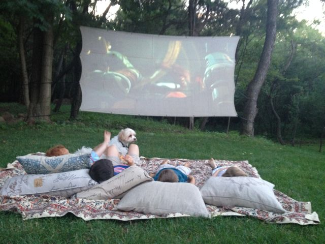 outdoor movie projection