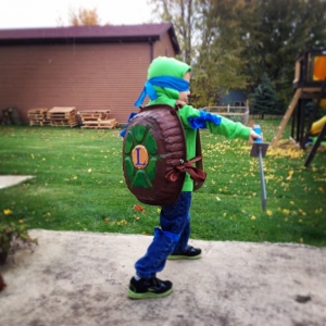 homemade Leo TMNT costume