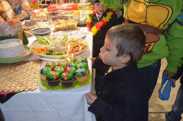 barn party ninja turtle cupcakes