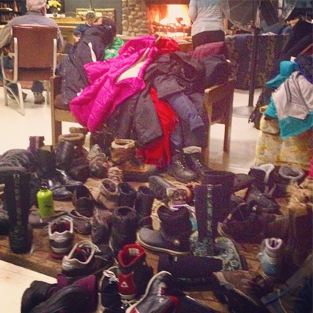 pile of camping shoes