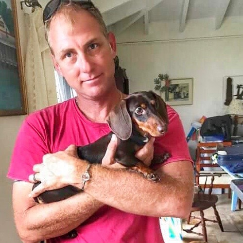 Hurricanes displace people, and animals too! When Ethan headed to St. Croix to help, Taj and I told him we were ready to have a dog in our family and we wanted a Crucian dog. We told him that any dog he wanted to bring home to us would be perfect. Yesterday, he met and bonded with Coco, a 6 month old female #Dachshund who was rescued from an abusive home on #StCroix and waiting for the perfect forever home, ours! Taj and I can't wait for their arrival back in Chicago on Tuesday! . . . Want to help a Crucian pup too? Taj and I are starting a 'Pet Supply Drive' here in Plainfield to ship down to St. Croix. Items needed: foldable animal crates, collars and leashes, heartworm & flea/tick medication. We adopted Coco through Sunshine Foundation St Croix and we want to help St. Croix Animal Welfare Center get back up and running. Through the tireless work of the volunteers and staff of these organizations, they get dogs off the street, manage spay/neuter programs and help dogs like Coco find their forever home too. #VIStrong #dachshundsofinstagram #dachshundpuppy #dachshundsunited #petsuppliesneeded
